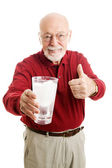 Senior Man Stays Hydrated - Water — Stock Photo