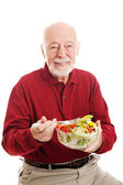 Healthy Senior Man Eating Salad — Stock Photo