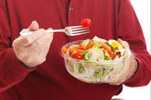 Senior Man Eats Salad - Closeup — Stock Photo