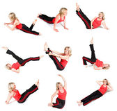 Senior Woman Various Yoga Poses — Stock Photo