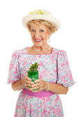 Southern Belle with Mint Julep — Stock Photo
