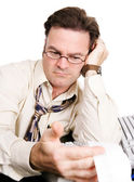 Tired Accountant Works Late — Stock Photo