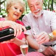 Senior Picnic - Pouring Champagne — Stock Photo #45367069
