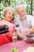 Senior Picnic - Pouring Champagne — Stock Photo