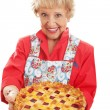 Retro Granny with Homemade Pie — Stock Photo