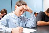Adolescent Boy - School Test — Stock Photo