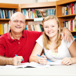 Library - Father Daughter — Stock Photo