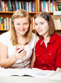 Library - Smart Phone Use — Stock Photo