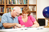 Library - Couple Studying — Stock Photo