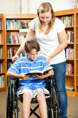 Library - Disabled Boy — Stock Photo