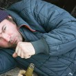 Homeless Man Coughs — Stock Photo #50215573