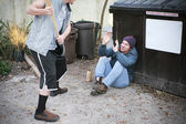 Bully Threatens Homeless Man — Stock Photo
