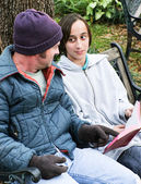 Homeless Family with Bible — Stockfoto