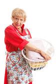 Woman Hates Laundry — Stock Photo