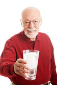 Senior Man Glass Water — Stock Photo