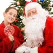 Santa and Little Boy — Stock Photo #6684638