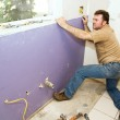 Worker Installing Drywall — Stock Photo #6684969