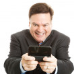 Horny Businessman Texting — Stock Photo #7293497