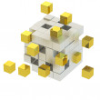 Golden cube , Cube assembling from blocks. 3d render — Stock Photo #12035599