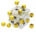 Golden cube , Cube assembling from blocks. 3d render — Stock Photo