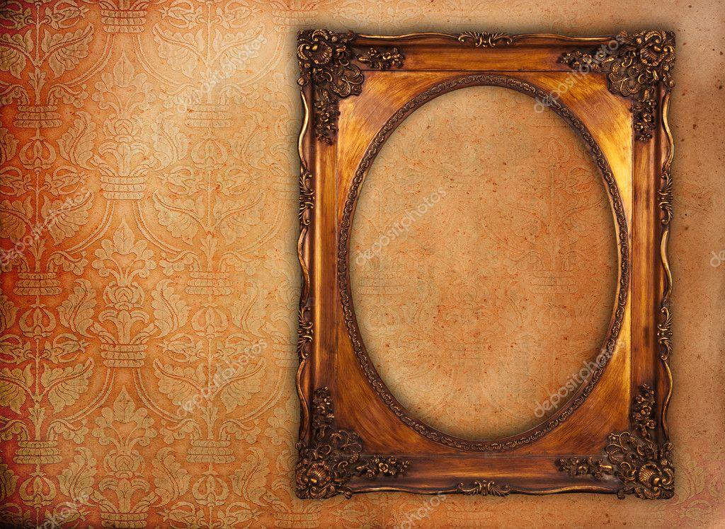 Golden Frame Wallpaper Golden Frame Over Grunge Wallpaper Photo by Suriyaphoto