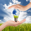 Hands saving , Global Concept of Green Energy Solutions With Lig — Stock Photo #12330909