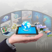 Share stramimg information, synchronization, cloud networking — Stock Photo