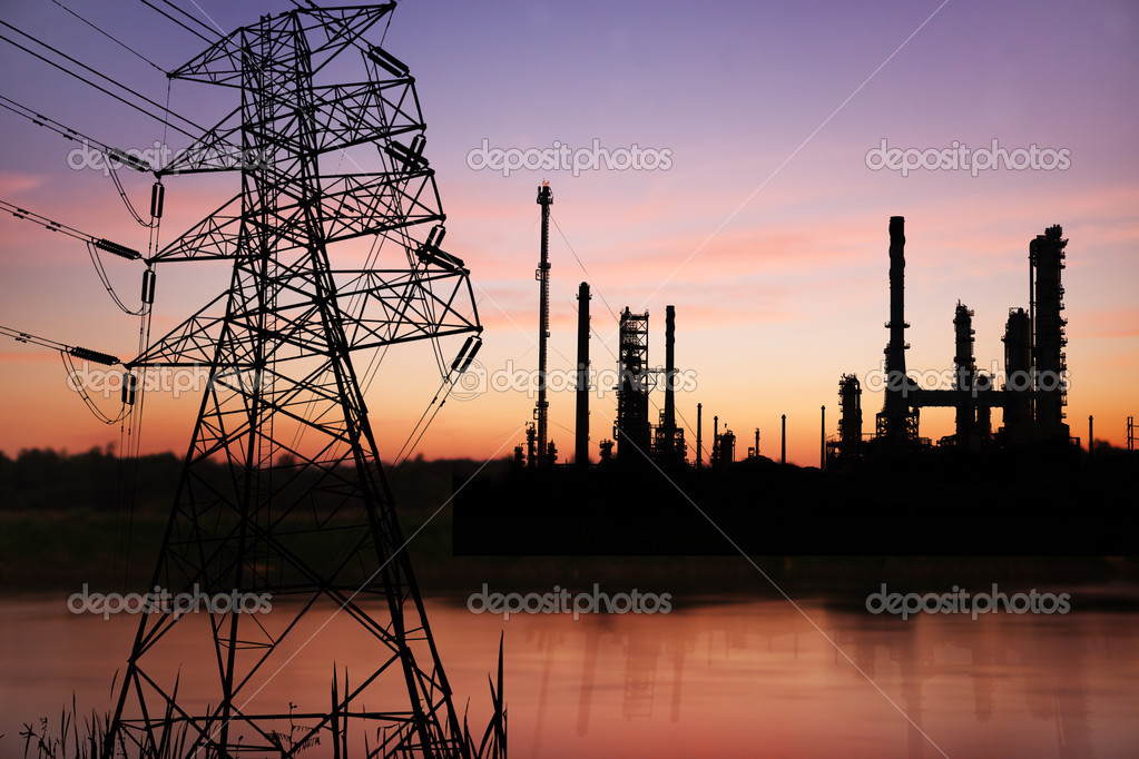 High voltage pose with petrochemical oil refinery plant  — Stock Photo #12668215