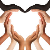 Multiracial human hands making a heart shape on white background — Stock Photo