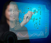 Business woman drawing a security plan for a firewall system — Stock Photo