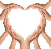 Mains faites en forme de cœur — Photo