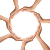 Multiracial human hands making a circle with Copy Space — Stock Photo