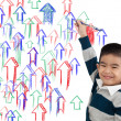 Kid drawing arrow up — Stock Photo