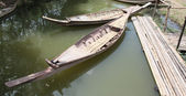 Vintage two wooden boat — Stock Photo
