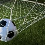 Soccer ball in goal, success concept — Stock Photo