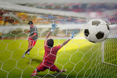 Goal highlight , shooting shot and Goalkeeper catches the ball — Stock Photo