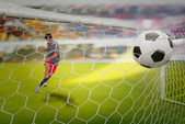 Goal highlight , shooting shot and Goalkeeper catches the ball — Foto Stock