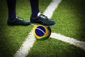 Football or soccer ball at the kickoff of a game — Stock Photo
