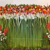 Flowers backdrop, wedding ceremony — Stock Photo
