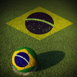 Stock Photo: Soccer ball with Brazil flag