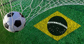Soccer ball with Brazil flag, world cup 2014 — Stock Photo