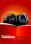Vector Red Background with digital camera — Stock Vector