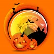 Vector orange Halloween spooky background — Stock Vector