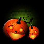 Vector black Halloween spooky background with two pumpkins — Stock Vector