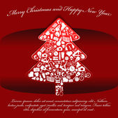 Abstract red vector Christmas background with tree — Stockvector