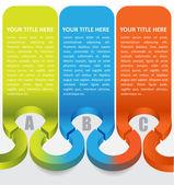 Fondo de etiquetas 3d vector abstracto con pasos de abc color — Vector de stock