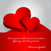 Vector red Valentine background with two hearts. — Stock Vector