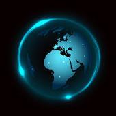 Vector globe on dark background with blue neon light — Stock Vector