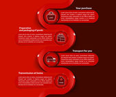 Red vector background with scheme of purchase — Vetorial Stock