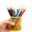 Royalty-Free Stock Photo: Back to school. Color pencils isolated on white background.
